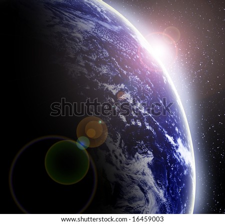 Earth as seen from outer space with a sunrise on it