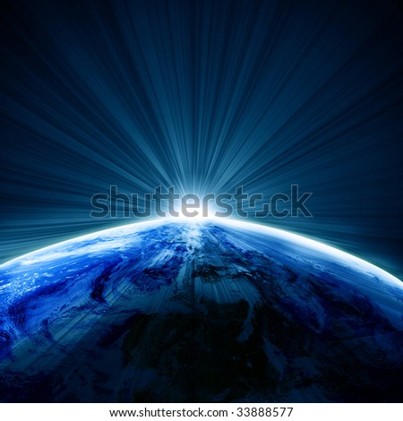 Earth as seen from space with sunrise on it