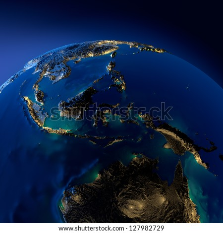 Earth at night, illuminated by the moonlight. Highly detailed terrain and translucent surface ocean illuminated by the light of cities. Australia, Indonesia. Elements of this image furnished by NASA