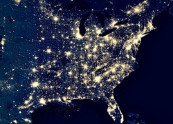 Earth at night, view of city lights in East of United States from space. USA on world map on global satellite photo. US terrain on dark planet. Elements of this image furnished by NASA.