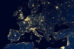 Earth at night, view of city lights showing human activity in Europe from space. EU and Mediterranean on world dark map on global satellite photo. Elements of this image furnished by NASA.