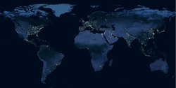 Earth at night, view of city lights showing human activity in North America, Europe and East Asia from space. World dark map on global satellite photo. Elements of this image furnished by NASA.