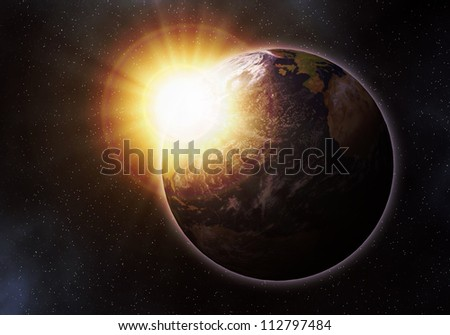 Earth at sunrise. Elements of this image furnished by NASA