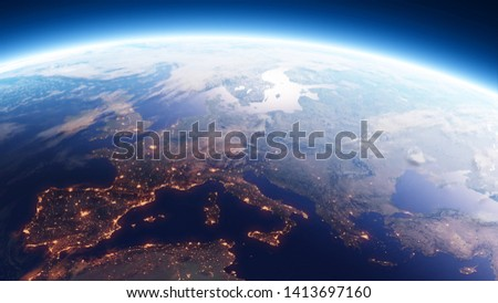 Earth at sunrise viewed from outer space with city lights showing human activity in Europe. High-quality 3D render of planet Earth with elements from the NASA satellites. Stockfoto ©