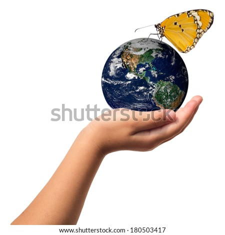 Earth care with helping hands concept ..Elements of this image furnished by NASA