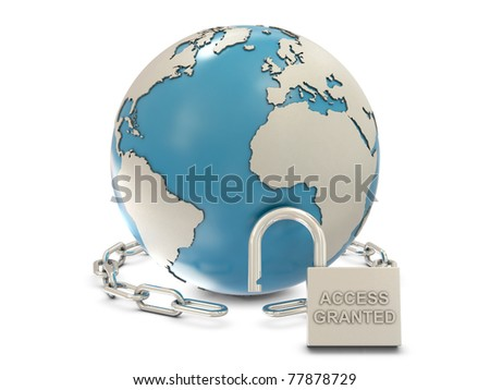Earth, chain and opened padlock with access granted text isolated on white background