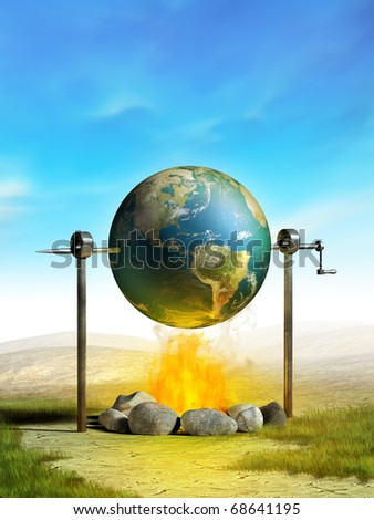 Earth cooked on a campfire as a metaphor of planetary temperature rise. Digital illustration.