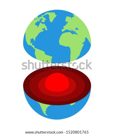 Earth core. Center of planet. Structure of earths crust. Internal layers in section