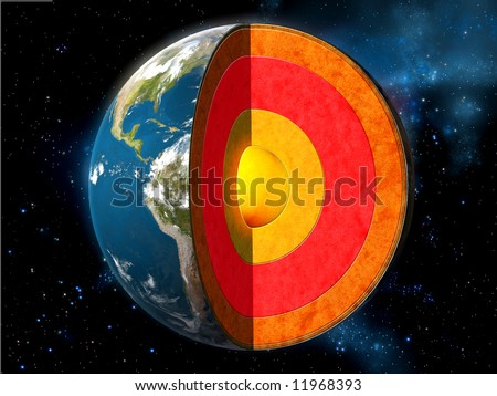 Earth cross section showing its internal structure. Digital illustration. Stock photo ©