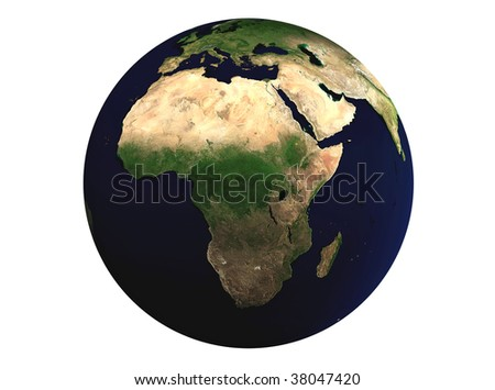Earth 3D. Isolated on white background. Focus on Africa.