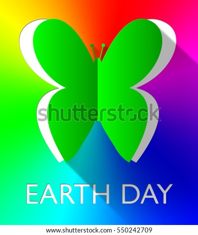 Earth Day Butterfly Cutout Shows Eco Friendly 3d Illustration