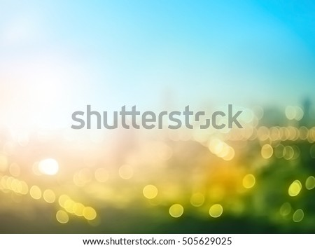 Earth day concept: Abstract blurred big city panorama background #505629025
