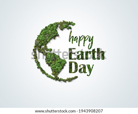 Earth day concept. 3d eco friendly design.Earth map shapes with trees water and shadow. Save the Earth concept. Happy Earth Day, 22 April.