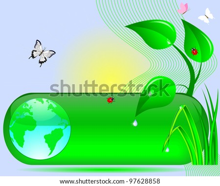 Earth Day. Web button with the globe, tree, grass, sun, butterflies and ladybirds. Raster version.