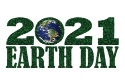 Earth Day year 2021 in the shape of forest tree top aerial view with blue earth.  Elements of this image furnished with permission by NASA.