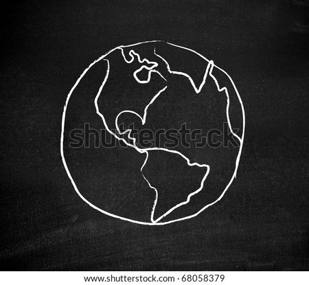 Earth drawn on a blackboard
