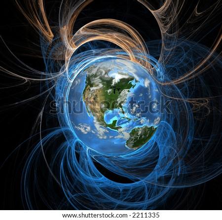Earth emanating an aura of energy fields, Western Hemisphere.