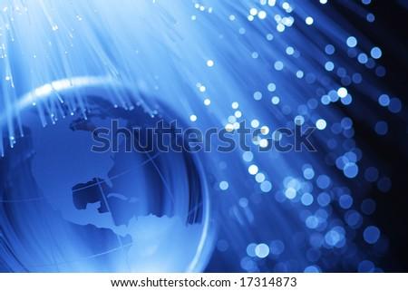 Earth & fiber optics - stock photo