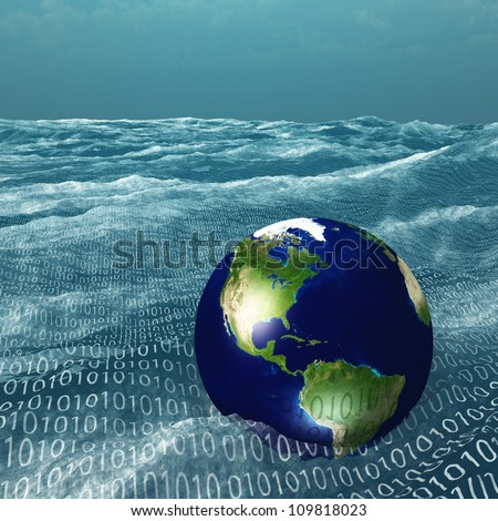 Earth floats in vast sea of binary code - stock photo