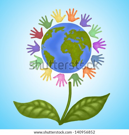 Earth flower/ Earth in the form of flower, colored hands around the earth , is friendship between the peoples.