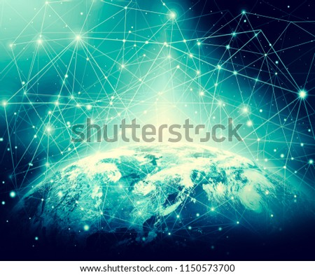 Earth from Space. Best Internet Concept of global business from concepts series. Elements of this image furnished by NASA. 3D illustration #1150573700