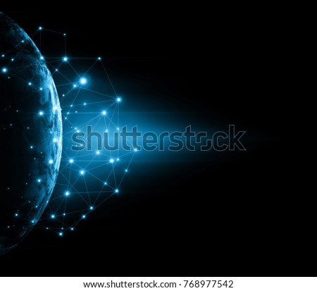 Earth from Space. Best Internet Concept of global business from concepts series. Elements of this image furnished by NASA. 3D illustration. Symbol of travel, internet, technology and communication - Shutterstock ID 768977542