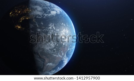 earth from space, concept of astronaut view, , slowly moving away with stars in space. UHD 3840 2160 footage . Elements of this 3d animation furnished by NASA.