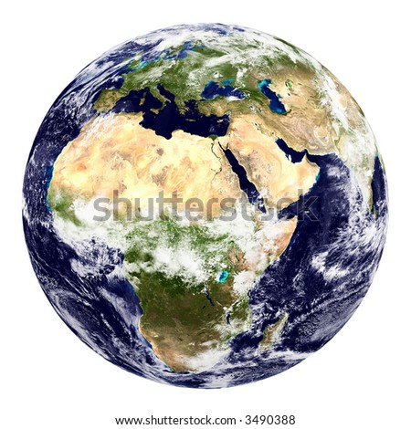 Earth from space on white background