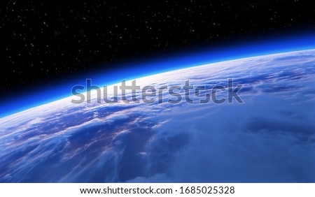 Earth from space, sunset or sunrise. Astronomy background. 3d rendering stock photo