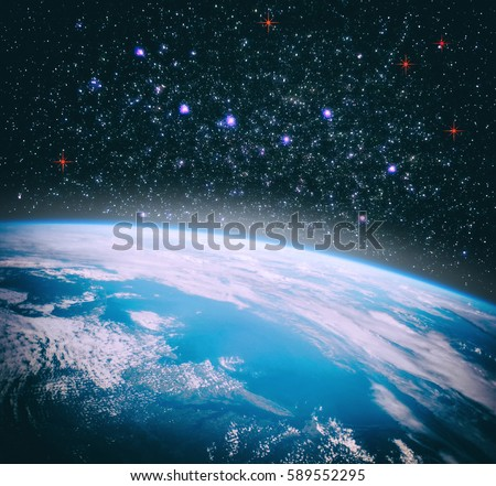 "Earth from space with dramatic view. ""The elements of this image furnished by NASA"" #589552295"