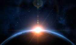 Earth, galaxy, and Sun. Sunrise, view of earth from space. Elements of this image furnished by NASA.