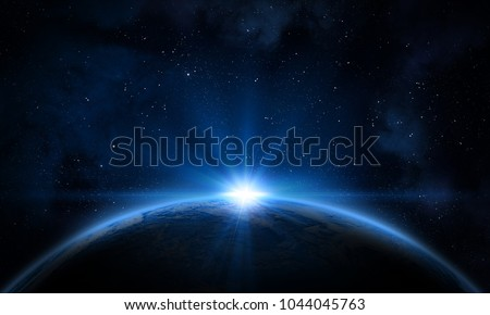 Earth, galaxy, nebula and Sun. Elements of this image furnished by NASA.