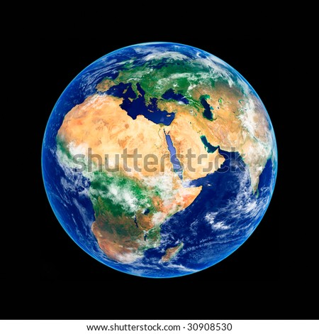 Earth Globe, Africa and Europe, high resolution image