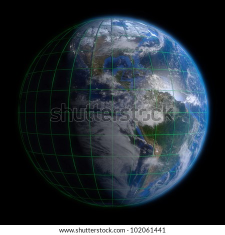 Earth Globe Americas - Clouds and Lines. 3d Render using NASA texture maps.