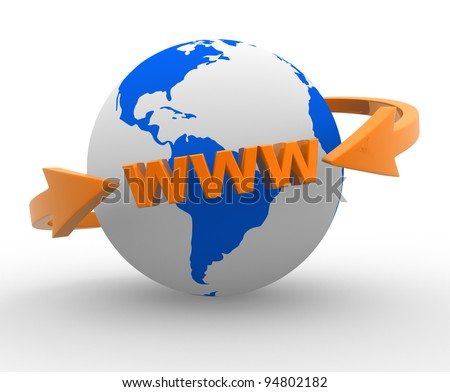 Earth globe and  arrows. Internet World Wide Web Concept ( www). 3d render