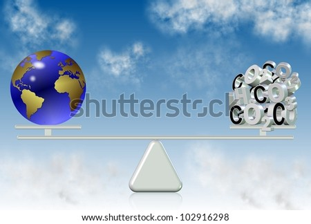 earth globe and carbon components on a seesaw with a blue sky in the background / carbon emission and world