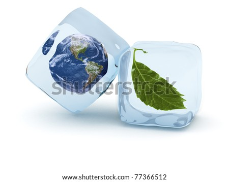 Earth globe and green leaf frost in ice cube