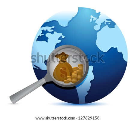 earth globe and magnify glass searching for gold illustration