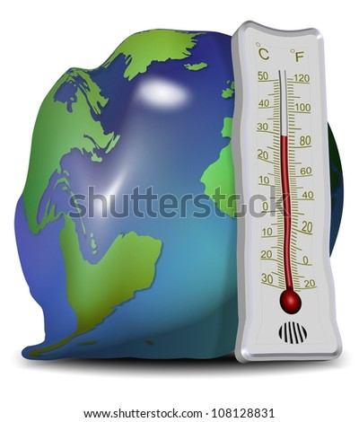 Earth globe and thermometer losing their shapes and melting / global warming and melting