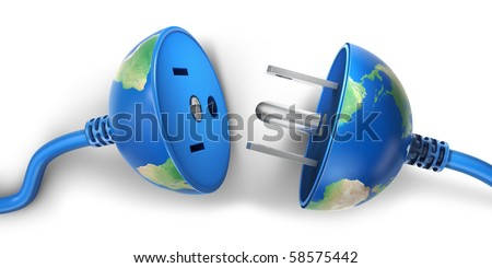 Earth globe as a power plug  (3d render)