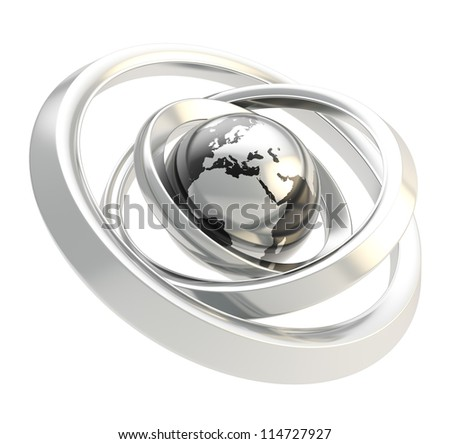 Earth globe black and chrome emblem icon inside the silver metal ring torus hoops isolated on white background