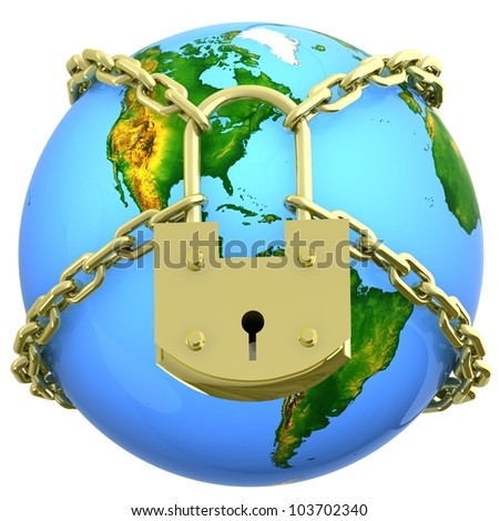 Earth globe close in chain and padlock. 3D render.