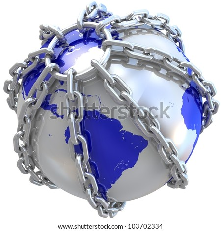 Earth globe close in chain. 3D render.