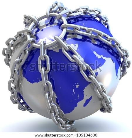 Earth globe close in chain. 3D render.