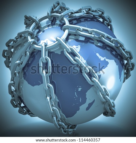 Earth globe close in chain. 3D render. Elements of this image furnished by NASA.