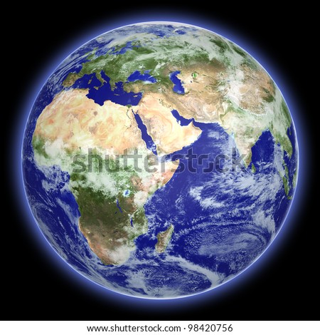 Earth globe cloud map on a black background. Side of Africa and Europe. The Earth texture of this image furnished by NASA. (http://visibleeart h.nasa.gov/view.php ?id=57735) - stock photo
