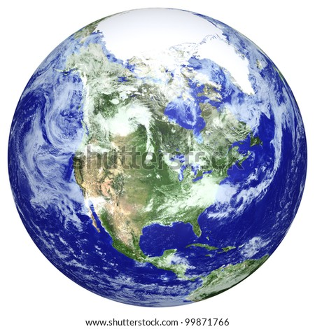 Earth globe cloud map. Side of the North America. The Earth texture of this image furnished by NASA. (http://visibleearth.nasa.gov/view.php?id=57735)