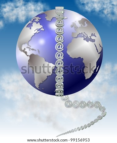 earth globe completely surrounded by white symbols at / symbol at and world