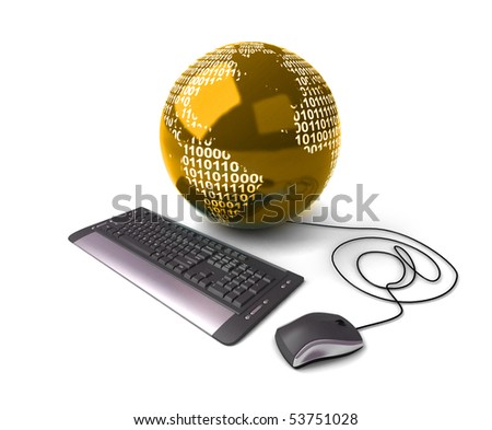 Earth Globe connected with computer keyboard.