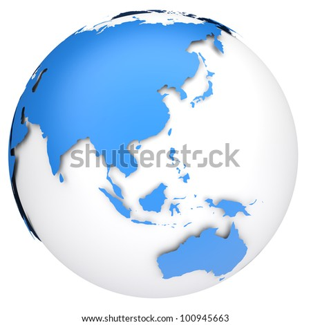 Earth globe 3d model. Side of Asia, Australia and Indonesia